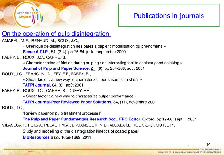 Publications in journals