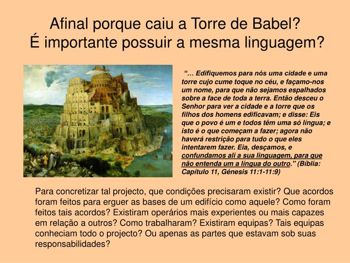 Afinal porque caiu a Torre de Babel?