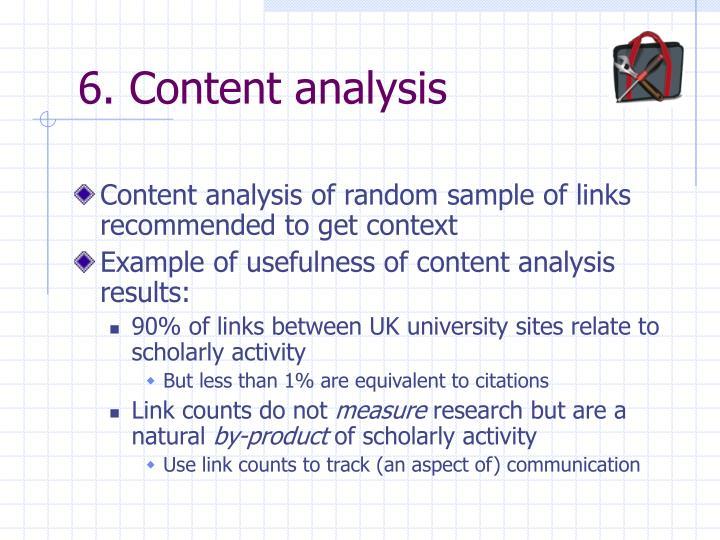 6. Content analysis