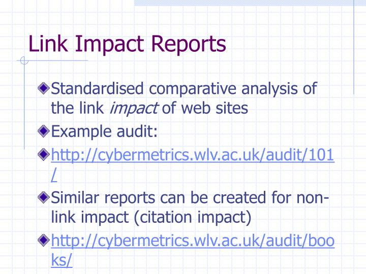 Link Impact Reports