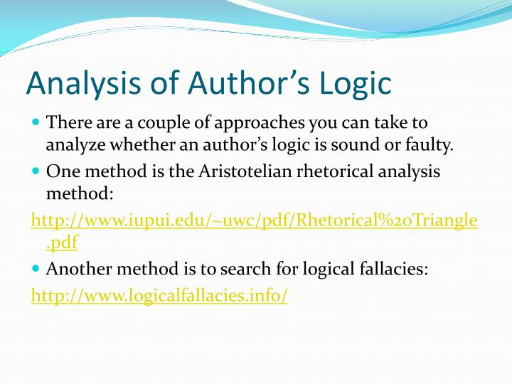 Analysis of Author's Logic