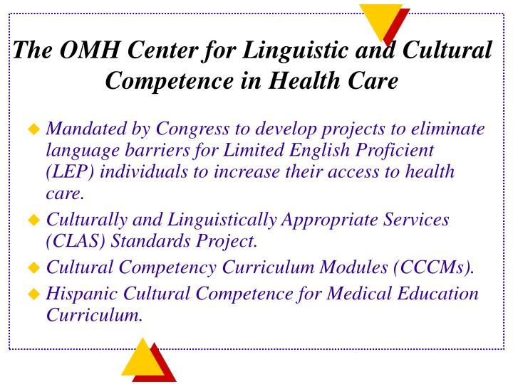 The OMH Center for Linguistic and Cultural Competence in Health Care
