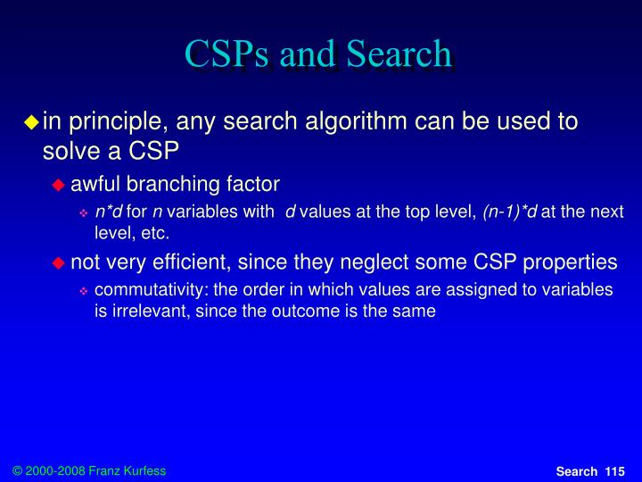 CSPs and Search
