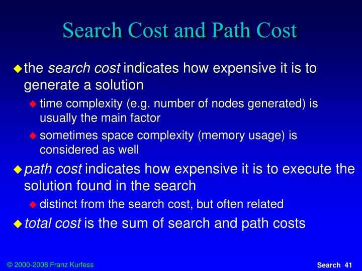 Search Cost and Path Cost