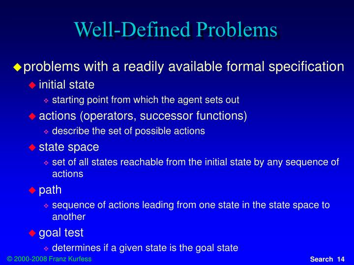 Well-Defined Problems