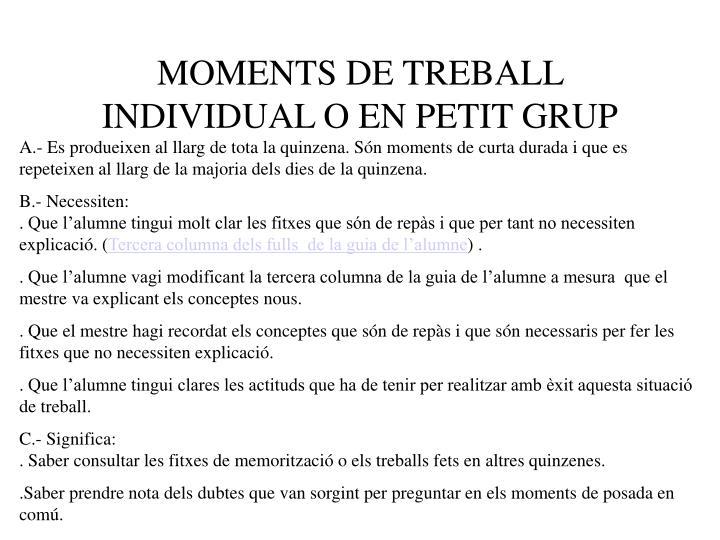 MOMENTS DE TREBALL INDIVIDUAL O EN PETIT GRUP