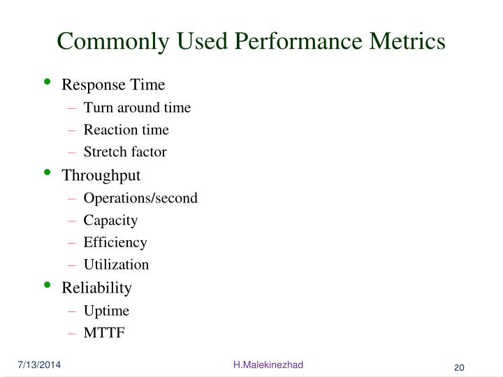 Commonly Used Performance Metrics