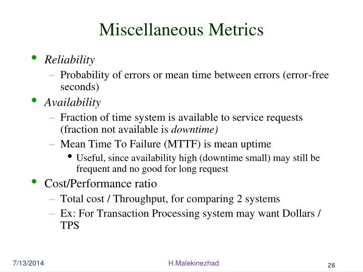 Miscellaneous Metrics