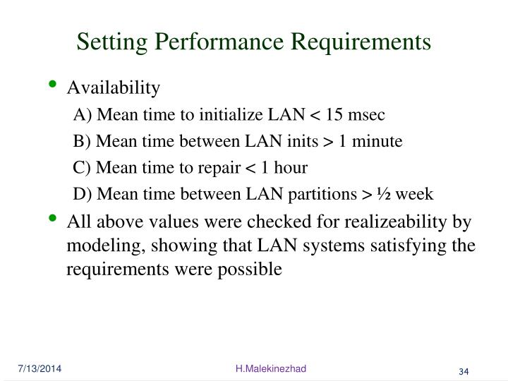 Setting Performance Requirements