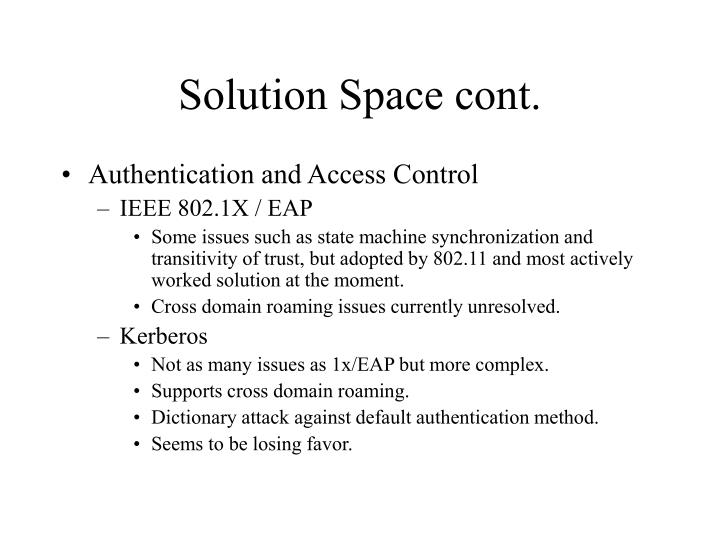 Solution Space cont.
