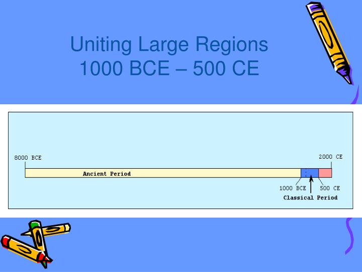 Uniting large regions 1000 bce 500 ce