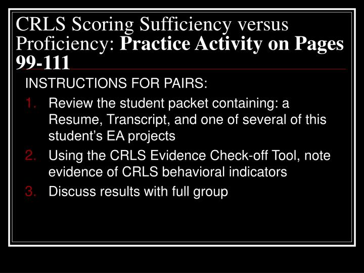 CRLS Scoring Sufficiency versus Proficiency: