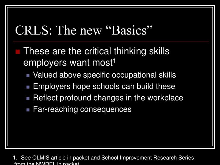 "CRLS: The new ""Basics"""