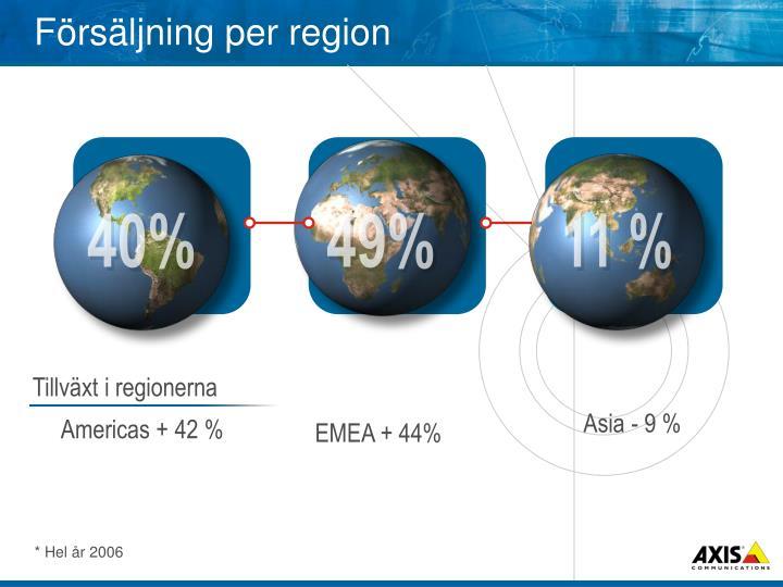 Försäljning per region