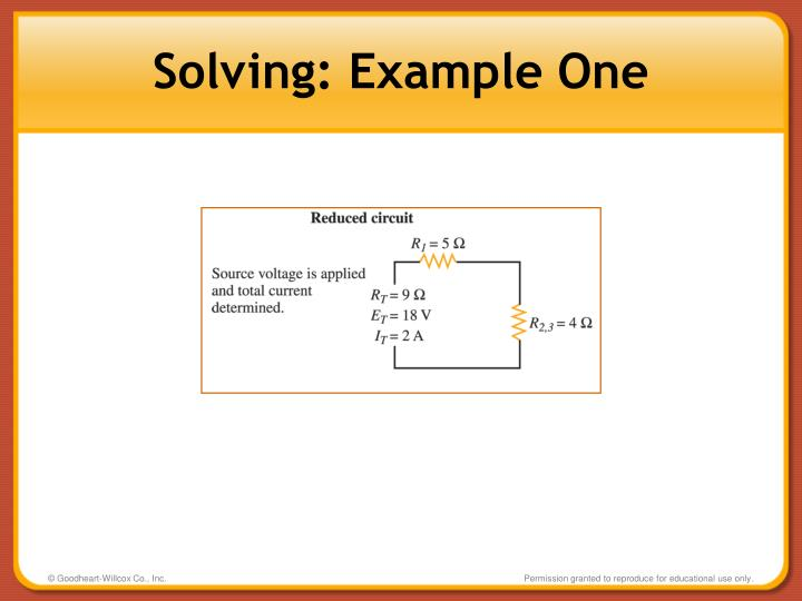 Solving: Example One