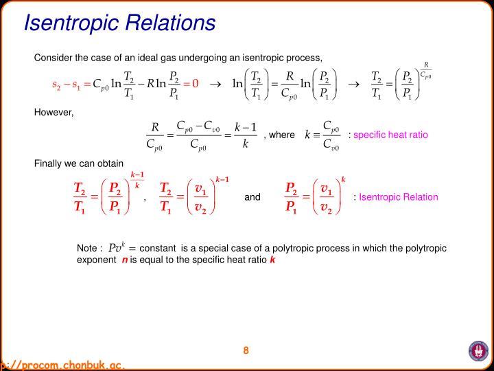 Isentropic Relations