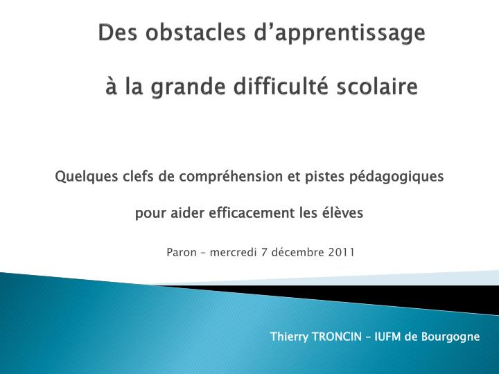 Des obstacles d apprentissage la grande difficult scolaire