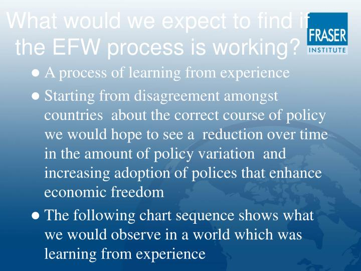 What would we expect to find if the EFW process is working?