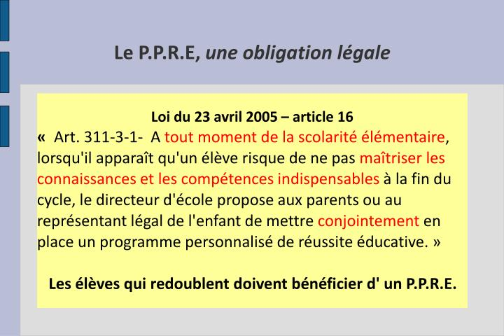 Loi du 23 avril 2005 – article 16