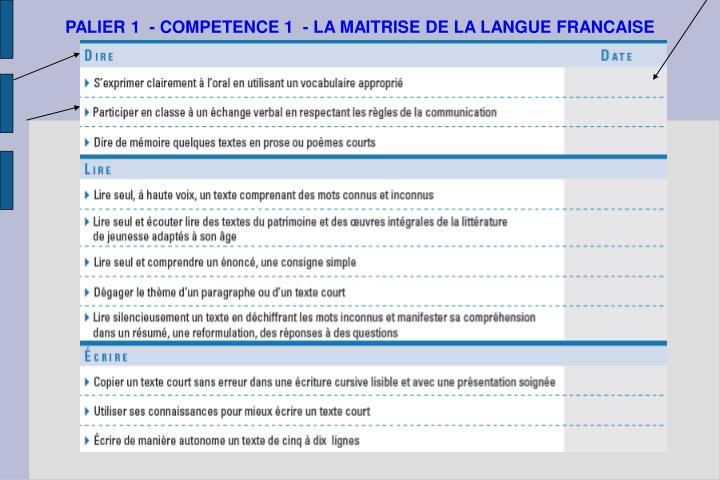 PALIER 1  - COMPETENCE 1  - LA MAITRISE DE LA LANGUE FRANCAISE