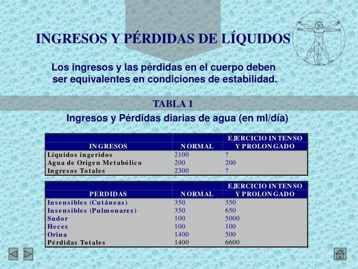 INGRESOS Y PÉRDIDAS DE LÍQUIDOS