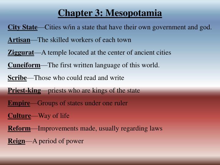 Chapter 3: Mesopotamia