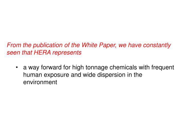 From the publication of the White Paper, we have constantly