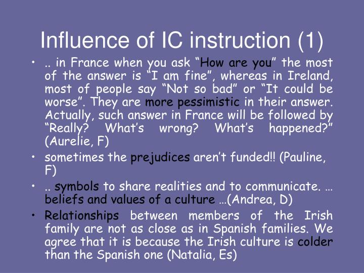Influence of IC instruction (1)