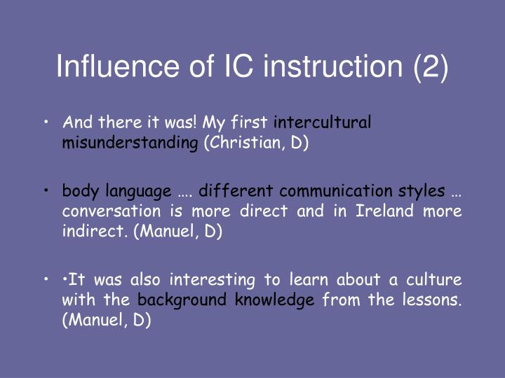 Influence of IC instruction (2)
