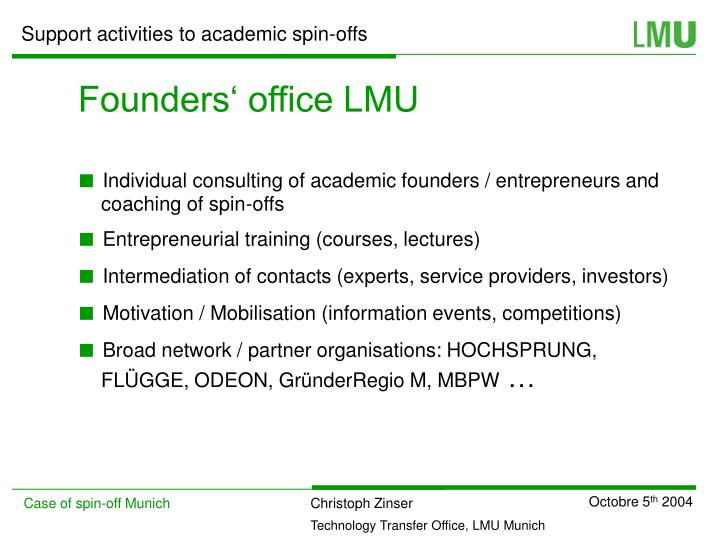 Founders' office LMU