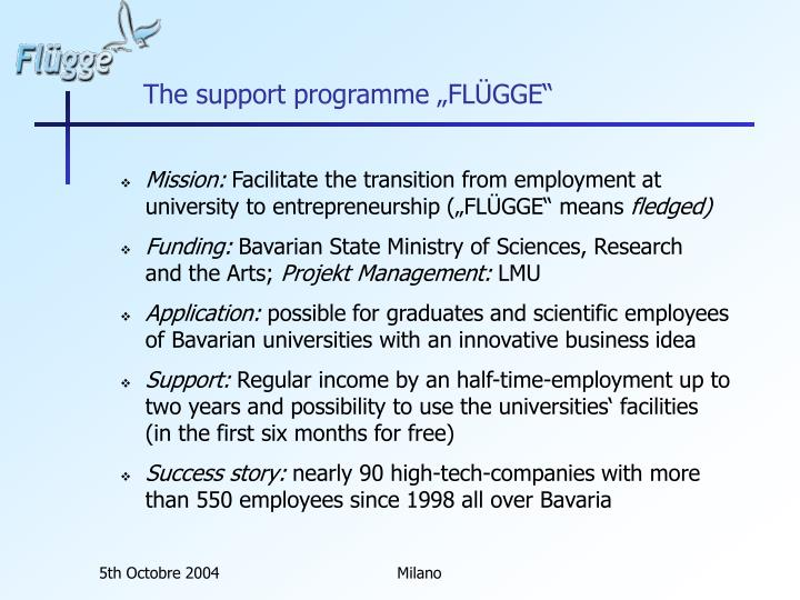 "The support programme ""FLÜGGE"""