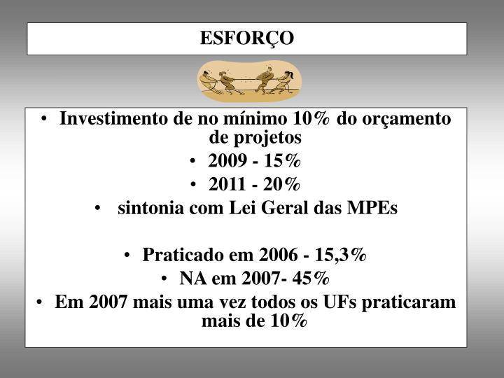 Investimento de no mínimo 10% do orçamento de projetos