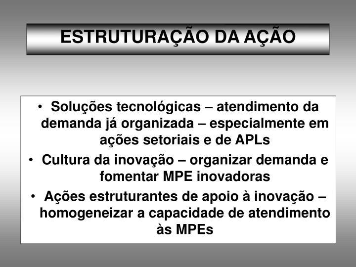 Soluções tecnológicas – atendimento da demanda já organizada – especialmente em ações setoriais e de APLs