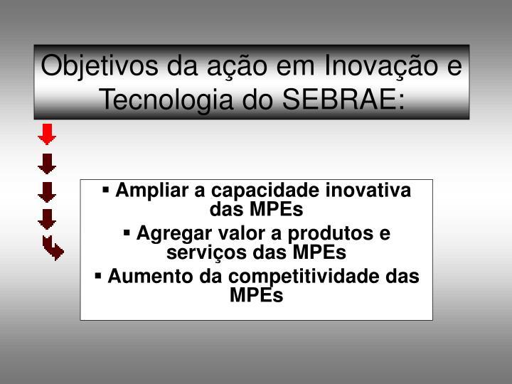 Objetivos da ação em Inovação e Tecnologia do SEBRAE: