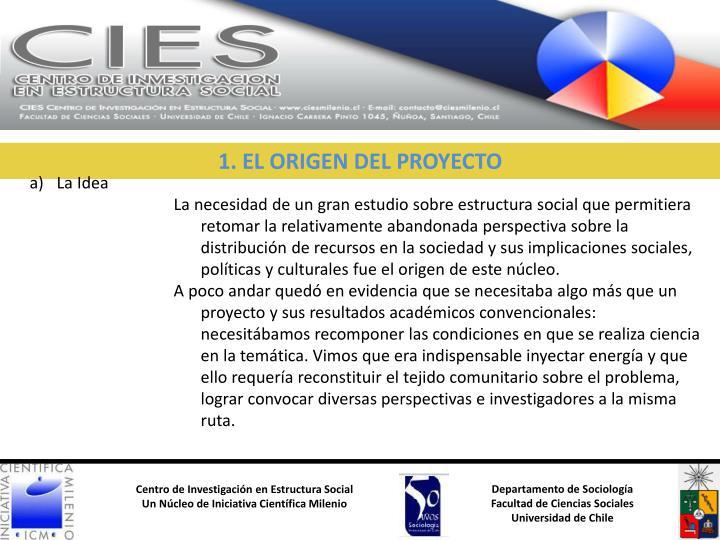 1. EL ORIGEN DEL PROYECTO