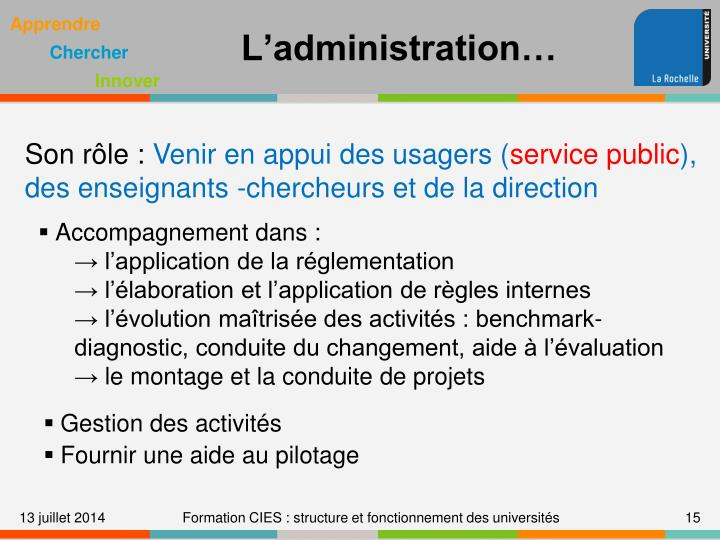 L'administration…