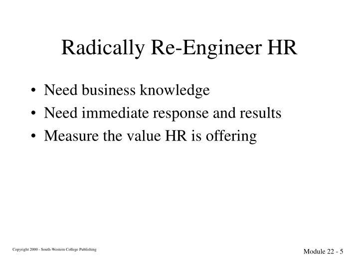 Radically Re-Engineer HR
