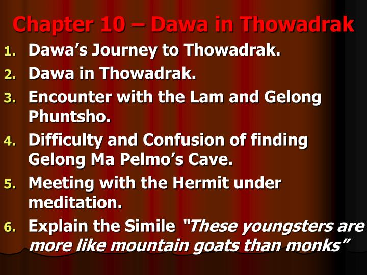 Chapter 10 – Dawa in Thowadrak