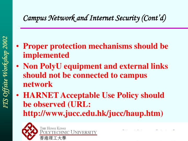 Campus Network and Internet Security (Cont'd)