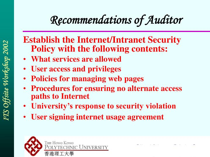 Recommendations of Auditor