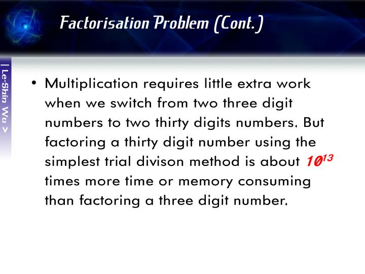 Factorisation Problem (Cont.)