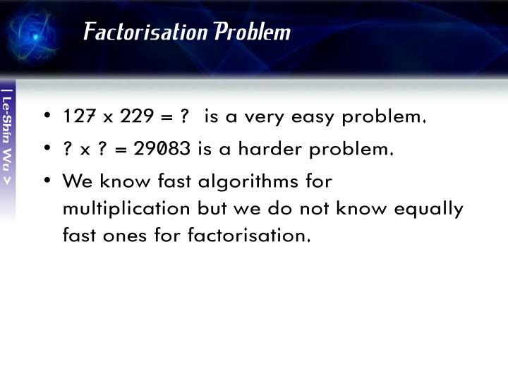 Factorisation Problem
