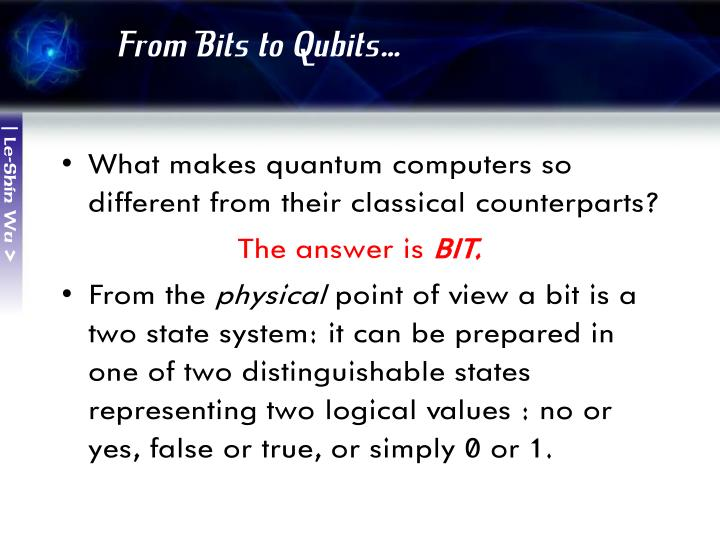 From Bits to Qubits…