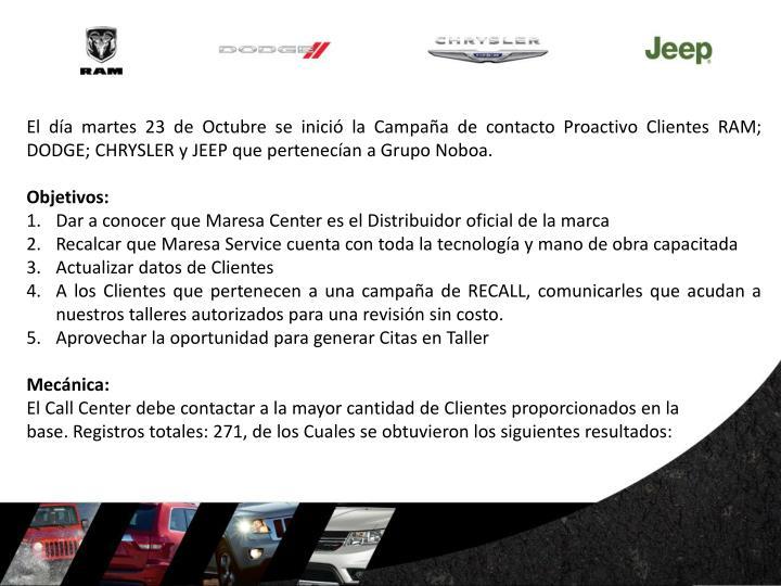El día martes 23 de Octubre se inició la Campaña de contacto Proactivo Clientes RAM; DODGE; CHRYSLER y JEEP que pertenecían a Grupo Noboa.