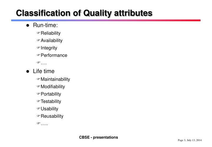 Classification of Quality attributes