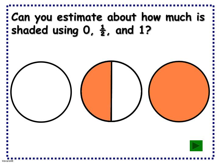 Can you estimate about how much is shaded using 0, ½, and 1?
