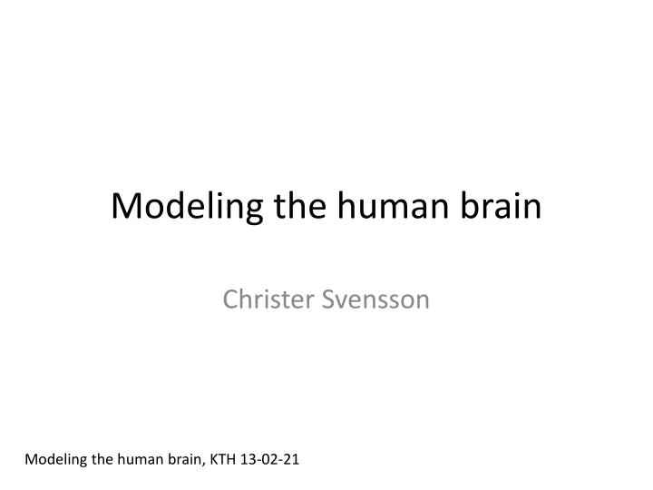 Modeling the human brain