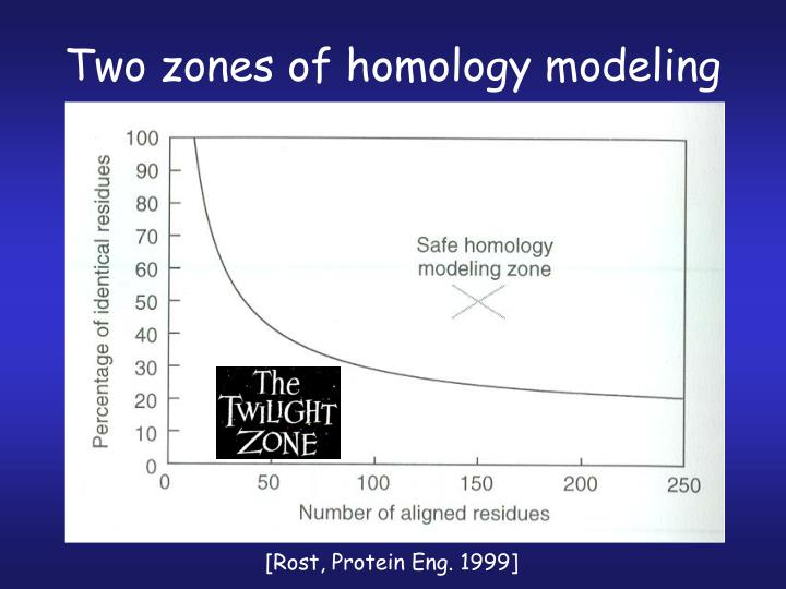 Two zones of homology modeling