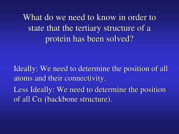 What do we need to know in order to state that the tertiary structure of a protein has been solved?