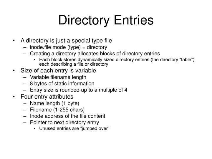 Directory Entries